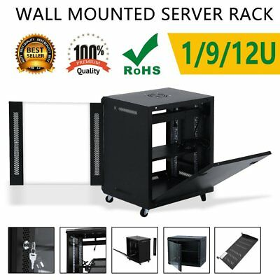 12U Network Data Rack With Cooling Fan Wall Mounted Server Cabinet lot AUE