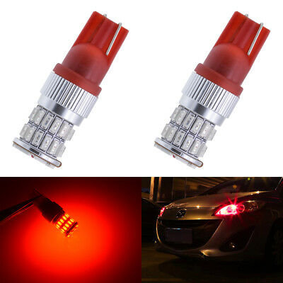 2x T10 Bulbs W5W 501 Canbus Lights LED COB SMD 3030 Bright Red Car Error Free