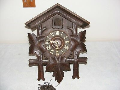 Vintage Swiss German Cuckoo Clock Carved Wood Case Brass Movement Restore Large