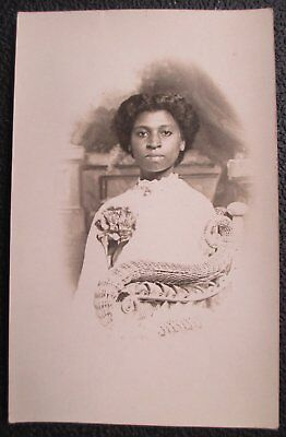 Early 1900's RPPC Real Photo Postcard Gorgeous African American Young Woman