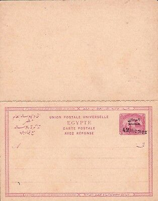 SUDAN : Anglo - Egyption Period. Provisional Surcharged Card & Reply Card 1899.