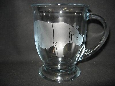 New Etched Sumatran Rhinoceros Glass Coffee Hot Chocolate Mug