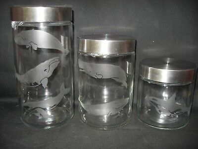 New Etched Whale Orca Right Glass Cookie Candy Treat Storage Jar Canister Set