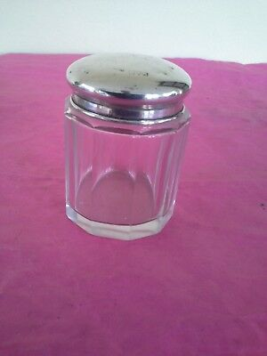 Antique Cut Glass Pin Jar Hallmarked Silver Lid dressing table accessory 2.5""