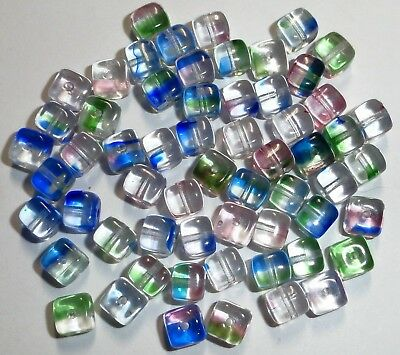60 Vintage Clear w/Color Cube Glass Beads...Size: 6x5mm