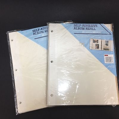 2 New Packages Photo Album Refill Pages 20 Self Adhesive Sheets 40 Pages 3 Ring
