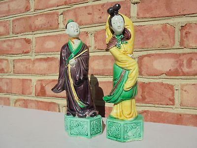 Pair Old Antique Chinese Pottery Man & Woman Figures Brown Yellow Green Glaze
