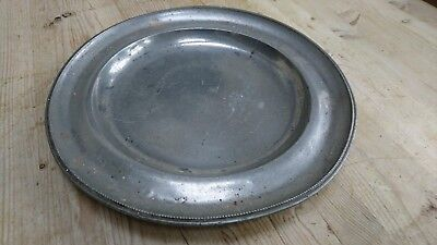 "1 old vintage antique 12"" pewter plate charger serving platter"