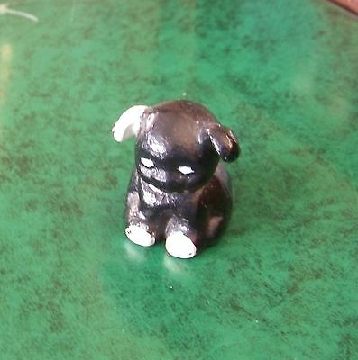 "Vintage Cast Iron Puppy Dog Black and white 1 1/2""tall 30's? Paperweight"