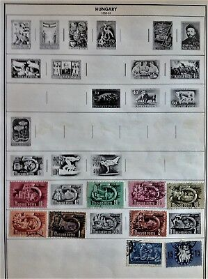 Hungary Used Stamps 1950-1955 hinged on Citation pages Lot of 56
