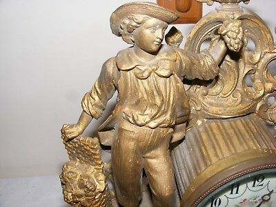 Antique Ornate French Mantle Clock Cast Metal Case Enamel Dial Boy Grape Harvest