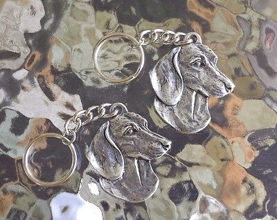 PUREBRED PET HIS & HERS or FRIEND 2 DACHSHUNDS DOG PEWTER KEY CHAINS ALL NEW