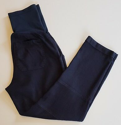 A Pea In The Pod Maternity Cropped Pants XS Navy Blue Ankle Length