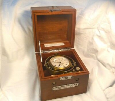 Hamilton Model 22 Marine Ship Chronometer Watch WW2 Complete 2 Day In Box