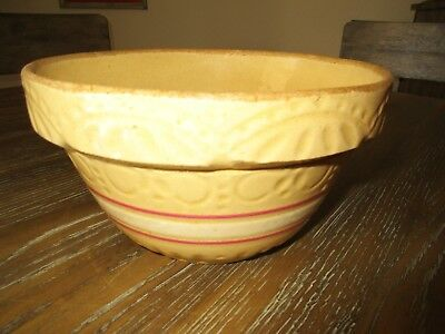 "Antique Roseville Yellow Ware Stoneware 8"" Striped Bowl, Very Nice"