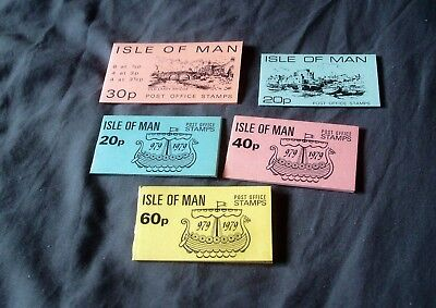 5 Different Qe2 Decimal Isle Of Man Stamp Booklets Complete With Mnh Stamps Ref2