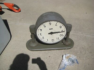 """Vintage Industrial IBM 13"""" DOUBLE-SIDED Ceiling Mount Clock for PARTS / REPAIR"""