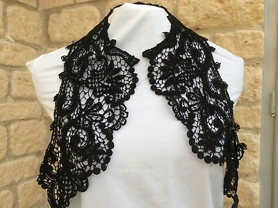 Large Antique black lace Victorian collar with intricate detail