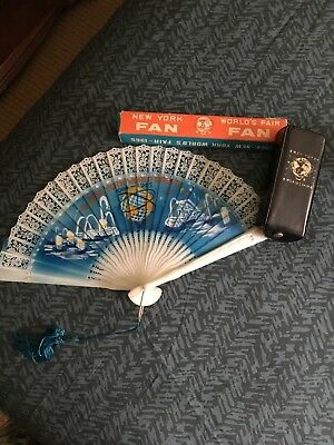 Worlds Fair New York 1963-64 Lot Of Fan In Original Box  Rain Bonnet In Original