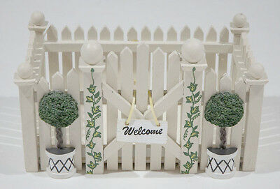 Ftd Florist Welcome Off White Picket Fence Garden Gate Wood Planter Ivy Topiary