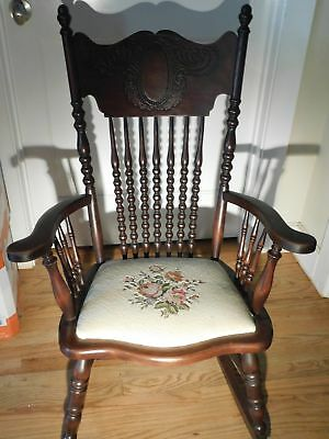 Early American Mahogany Floral Seat Needlepoint Rocking Chair