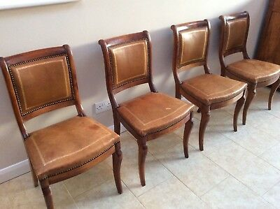 Set of 4 French Antique Dining Chairs with leather upholstery