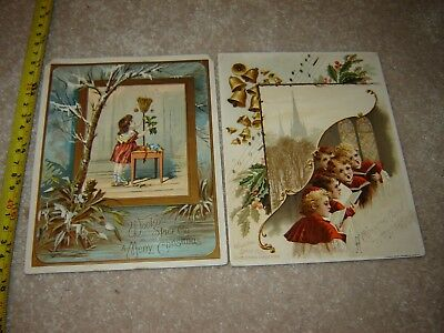 VICTORIAN TRADE CARD MERRY CHRISTMAS WOOLSON SPICE CO lion coffee set of 2
