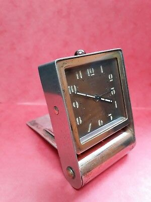 RARE VINTAGE & ORIGINAL JAEGER (LeCoultre) ART DECO POCKET FOLDING TRAVEL CLOCK