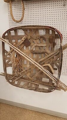 Antique Primitive Tobacco Basket with Authentic tools and Tobacco. Must see