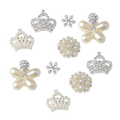 10x Crystal Rhinestone Flatback Buttons Pearl Flower Embellishment DIY Craft