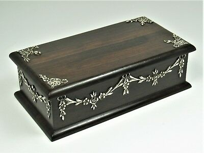 Box antique Brazilian rosewood and solid silver very beautiful