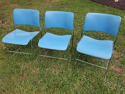 Vintage MCM Chairs David Rowland 40/4 Set Of 3 Stackable Blue Chrome