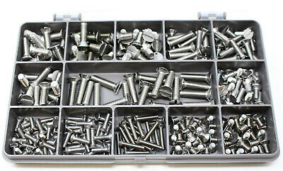 270 Assorted A2 Stainless Steel M3 M4 M5 Slot Countersunk Machine Screws Kit