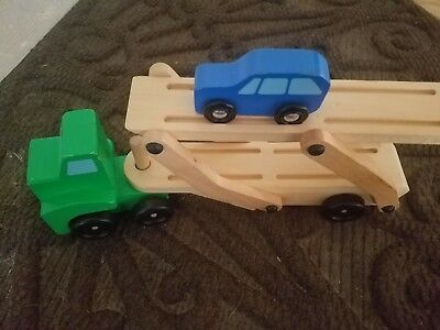 Melissa & Doug Classic Toy wooden truck cab & car carrier w folding ramp one car