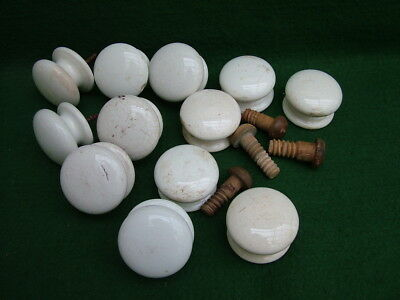 12 VICTORIAN  WHITE CHINA DRAWER / CUPBOARD KNOBS  2 inch Diameter AF