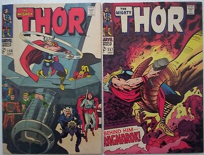 """1968. TWO x Vintage """"MIGHTY THOR"""" Marvel Comics Vol.1 #'s 156 & 157. VG+"""