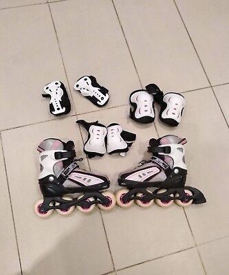 SFR Vortex Inline Roller Blades / Skates. Girls Adjustable Size UK 12J-2, vgc.