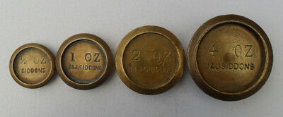 Partial Set Vintage Brass Weights - J & J Siddons - 1/2 oz - 4 oz