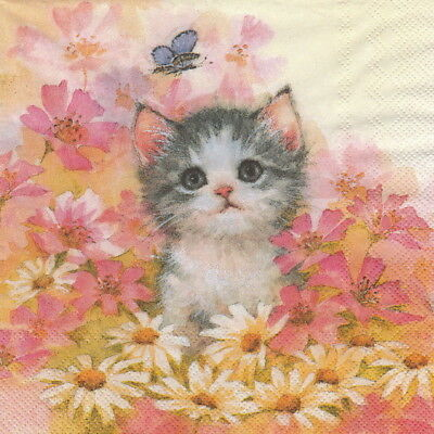 4x Paper Napkins for Party, Decoupage Craft Little Jeany cat
