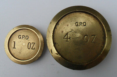 Pair of Vintage Brass Weights - GPO 1 oz & 4 oz
