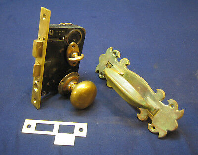 Antique Entry Mortise Lock Set w/ Cylinder & Key Brass Knobs & Plates - RUSSWIN