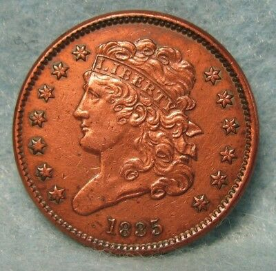 1835 CLASSIC HEAD HALF CENT AU ~ Almost Uncirculated * US Coin