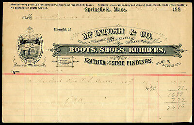 1887 McIntosh Boots Shoes Rubbers Invoice Springfield MA. Mass.