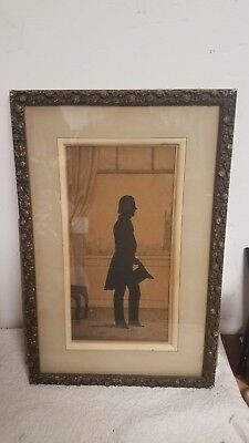Antique Early to mid 19th century Gentleman Cut-Paper Silhouette William Heath?