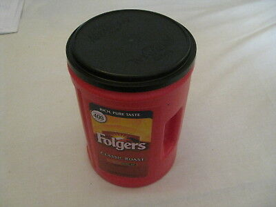 """Red Plastic FOLGERS Coffee Can 51 oz Empty 9"""" tall with holding handle Container"""