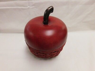 Longaberger 2007 Collectors Club Red Apple Basket With Wood Lid