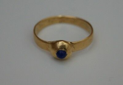 Beautiful 15th C. Medieval Solid Gold Ladies Pie Crust Ring with Blue Stone.