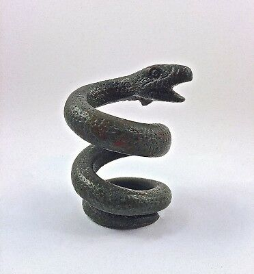 Superb Ancient Roman Bronze Coiled Snake ~ Mildenberg Collection