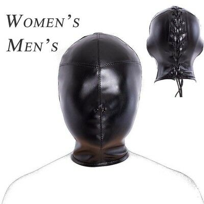 Full Head Mask Soft Adult Fetish Costume Slave PU Leather Mouth Eye Restraint