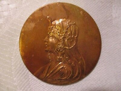 Egyptian Revival Vintage Cleopatra Medallion, Art Nouveau Style Brass Stamping